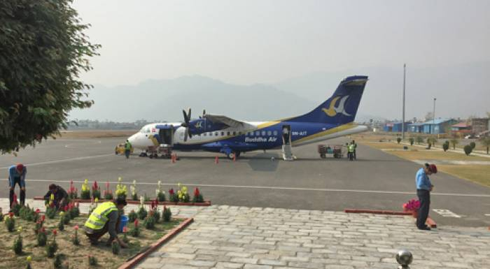 Mountain flight fra Pokhara til kathmandu