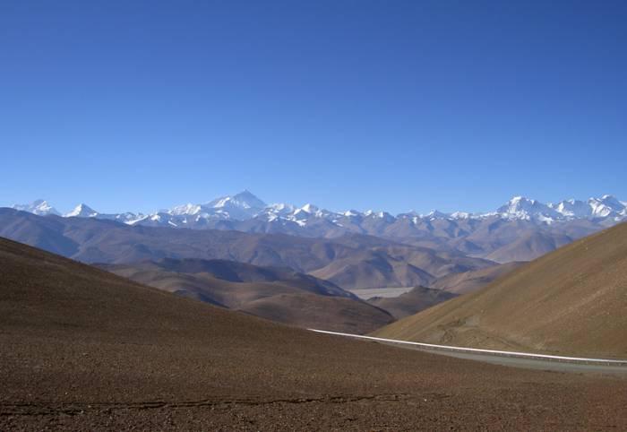Rongbuk-klosteret og Mount Everest 5.000 meter