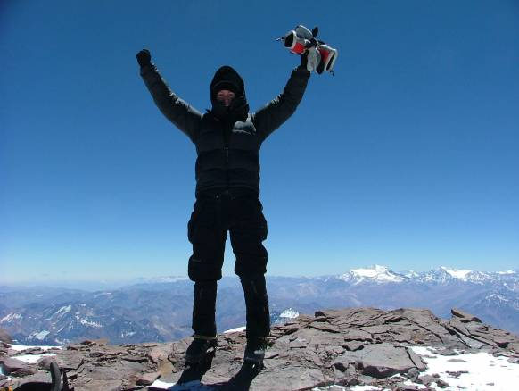 På toppen af Aconcagua