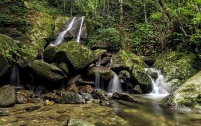 På Borneo rejser oplever man smukke vandfald