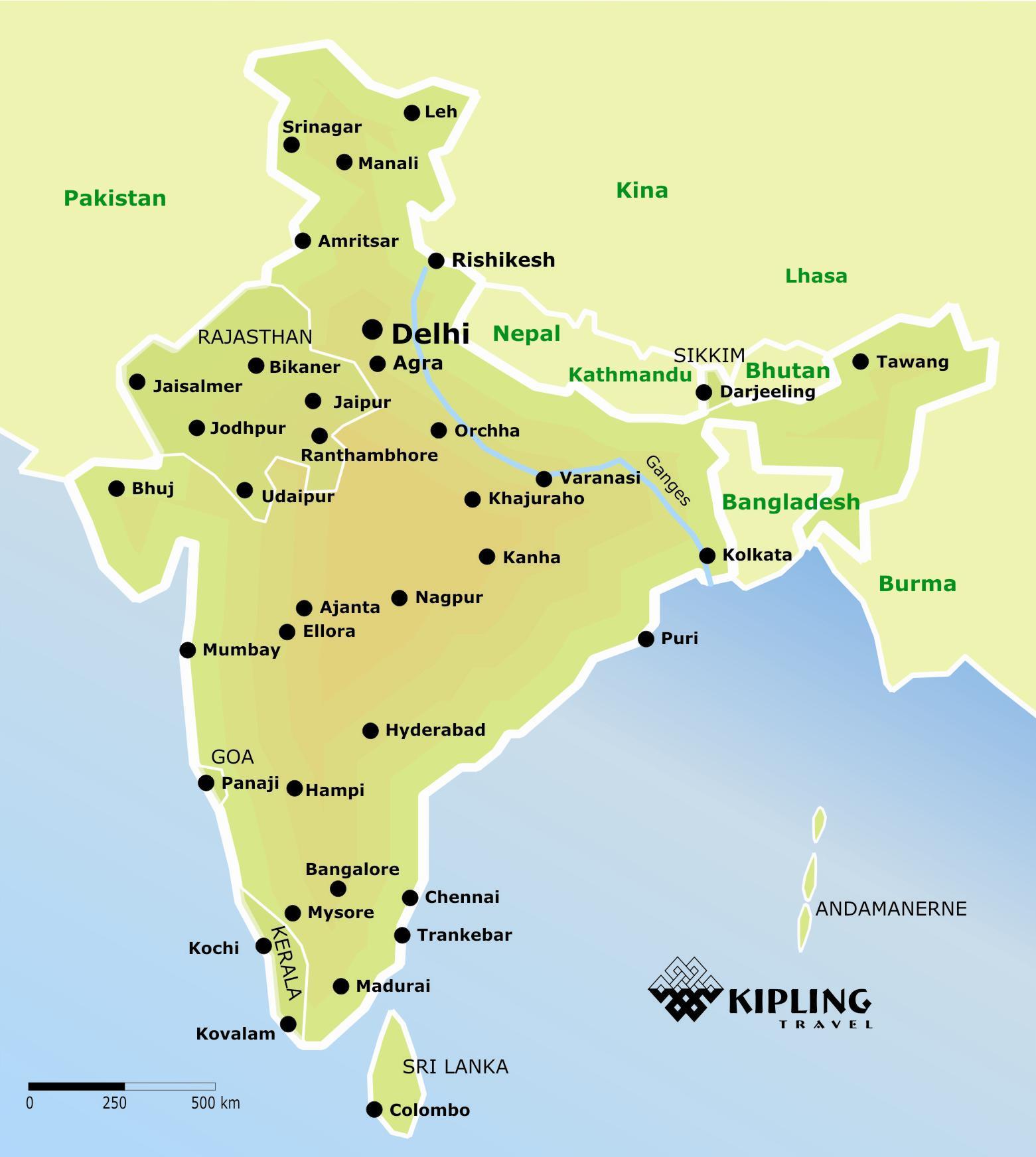 Indien kort - kort over Indien