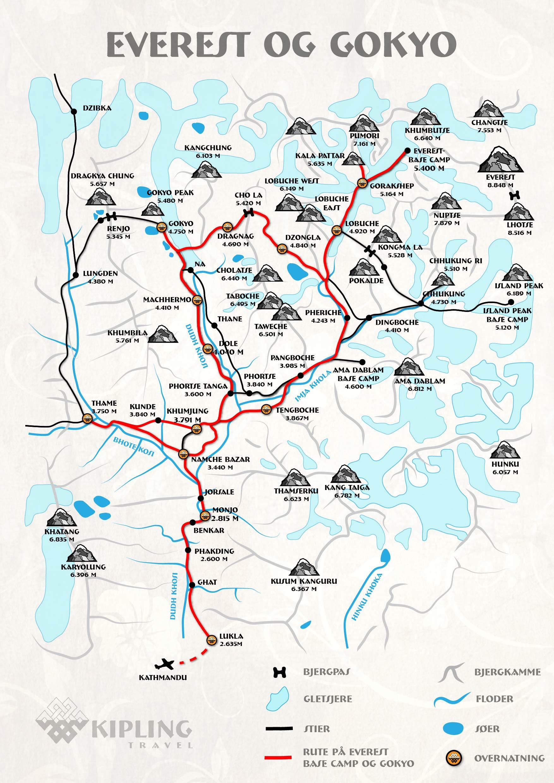 Everest basecamp og Gokyo kort