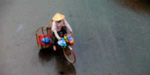 Vietnamesisk mand på scooter